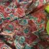 Heavy red and green damask curtains